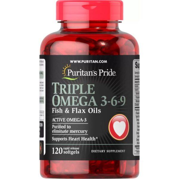 Omega 3-6-9 Forta Tripla cu Ulei de Peste si Ulei In-120 capsule