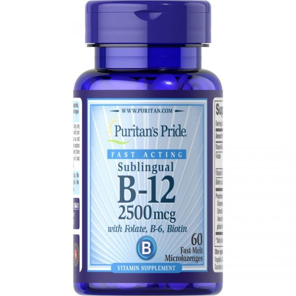 Vitamina B-12 2500 mcg cu Acid Folic , Vitamina B6 si Biotina-60 tablete